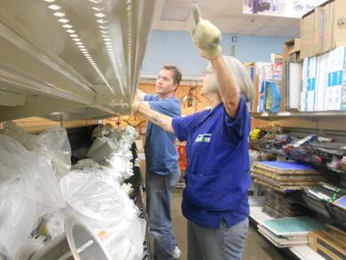 Mary helping a customer