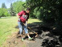 Shoveling Dirt at Habitat home in Brooklyn Park