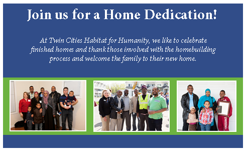 Attend an upcoming Habitat home dedication