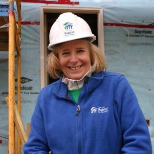 Susan Haigh on a Habitat build site