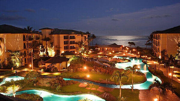 A view of the Waipouli Beach Resort and Spa at dusk.