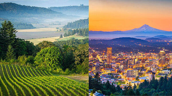 Two images, one of the Willamette Valley, and the second is a view of the Portland skyline at dusk.