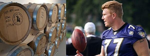 Two images - to the left, rows of whiskey barrels at Brother Justus distillery. To the right, Minnesota Viking Matt Birk with a football.