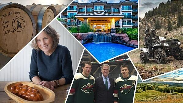 A collage of images: Beer barrels, a woman with a fresh-baked loaf of bread, a hotel with a pond and waterfall, a four-wheeler, two members of the Minnesota Wild with Habitat CEO Chris Coleman, and a field of corn.