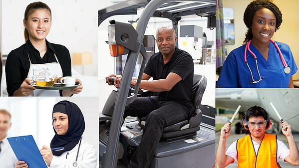 Five images of different jobs, performed by people of different genders and races. On the left are images of a waitress and a doctor, in the center is a man driving a cart at an airport, on the right are images of a nurse and an aircraft marshaller.