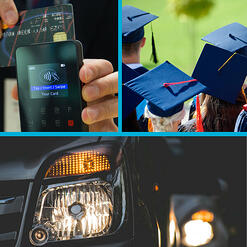 Three images. The top two are of a cell phone with a credit card, and of a graduation ceremony - the caps are blue. The bottom image is a close-up of a car light on a black vehicle, which appears to be in traffic in front of another car.
