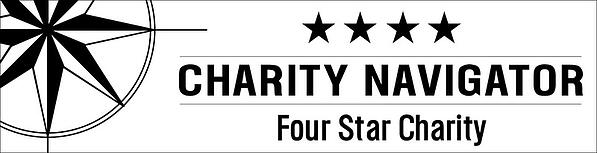 "A white banner with black text and a black Charity Navigator logo on the left. To the right is four stars above the text ""CHARITY NAVIGATOR Four Star Charity""."