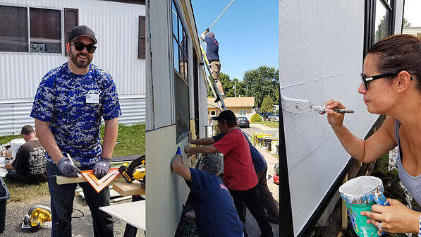 Three images. Left: A volunteer measuring a wooden beam. Center: Volunteers attaching new siding to Mark's home. Right: A volunteer painting Mark's home.
