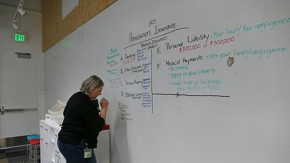 Debbie Campbell writing notes on a whiteboard.