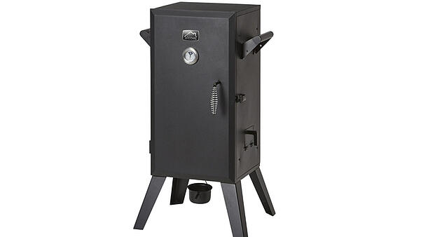 A black analog electric smoker with four legs.