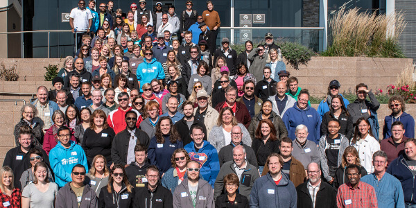 A group photo of all the Twin Cities Habitat for Humanity employees.
