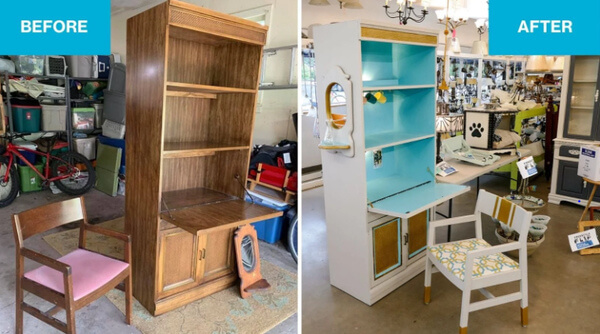 Before and after images, from left to right. To left: A wooden hutch, an old mirror, and a wooden chair with a pink seat. To right: The hutch has been painted white, with light blue interior and gold accents, and the mirror painted and hung on the side. The chair's seat has a matching patterned fabric, and the wood is painted white and gold.