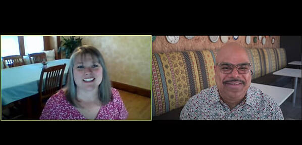 A screenshot of a video call with Juanita and her interviewer.