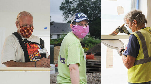 Three images - One man in a white shirt and a red plaid mask, looking down. Two - a volunteer in a green shirt, baseball cap and a pink mask, looking over their shoulder at the camera. Three - a volunteer in a yellow safety vest. blue shirt, and a mask, facing away from the camera while painting a windowsill with a brush and dustpan.
