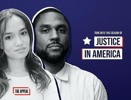 "Black and white cutout images of Josie Duffy Rice and co-host Zak Cheney Rice, against a dark blue background which features a white start next to white text saying ""Tune into this season of Justice in America."" ""Justice in America"" is dark blue text in white boxes, that have red shadowing. The words ""The Appeal"" are encompassed by a red frame in the bottom left, overlaying the Duffy Rice photo. Both are wearing white shirts and looking seriously at the camera."