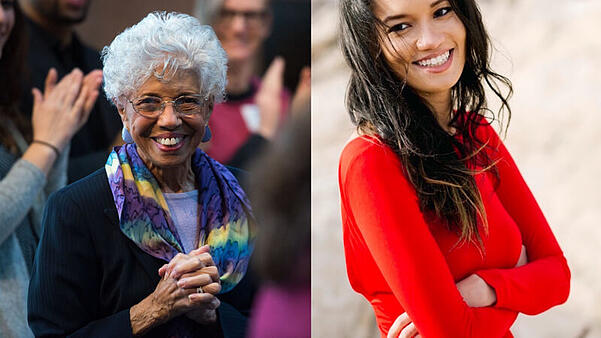 Two pictures. Left: A close-up on Dr. Josie Johnson, in a purple shirt, black pinstripe jacket, and a blue, purple and yellow patterned infinity scarf, smiling in a crowd with her hands clasped. Right: Josie Duffy Rice, in a bright red sweater, smiling with her arms crossed.