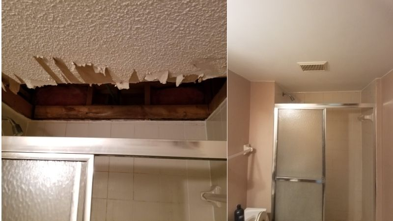 Before and after images of Amber's bathroom ceiling above the shower. The first image shows the torn out portion with rotted wood, and the second shows the repaired ceiling.