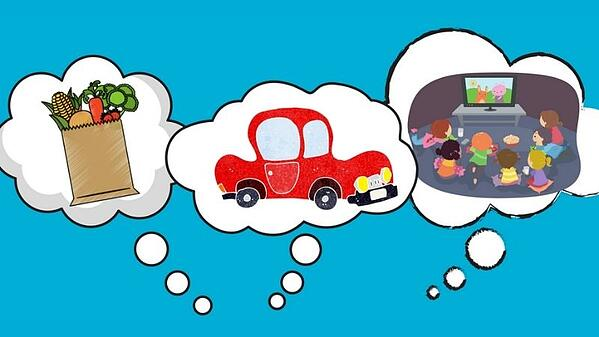 Three thought bubbles with a bag of groceries, a red car, and kids watching a movie.