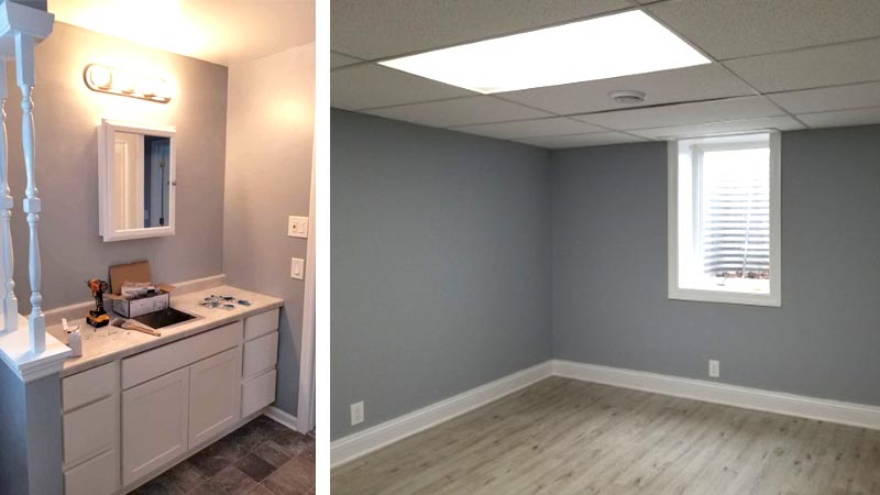 The finished bathroom and a bedroom of the 103rd Ave NW home.