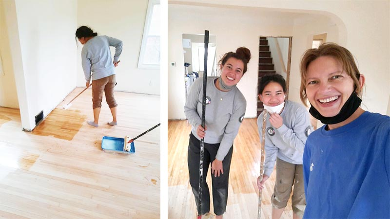 A shot of Sarah and Maddie painting a living room wall, and a group shot of them with Lynda.
