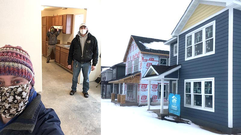 Two shots of the Maryland Ave team and the outside of the homes.
