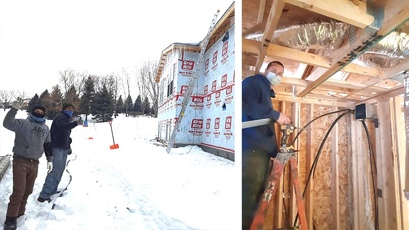 A shot of two team members outside one of the homes, and another shot of a team member framing a home.