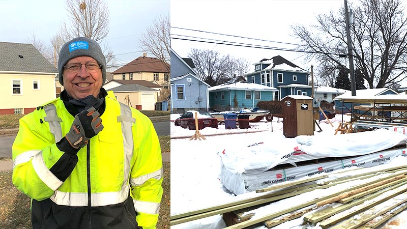 A shot of Tony smiling, and another shot of the site for one of the Emerson Ave homes.