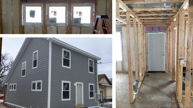 Three images of the inside framing of one of the homes, with a photo of the finished outside.