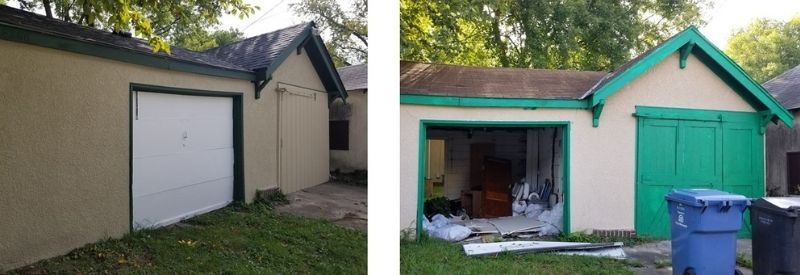 Before and after images of Chandra's garage.