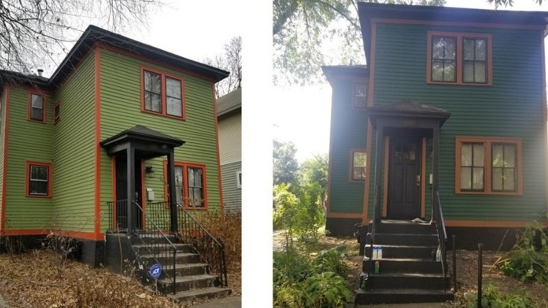 Before and after images of Mary's home.