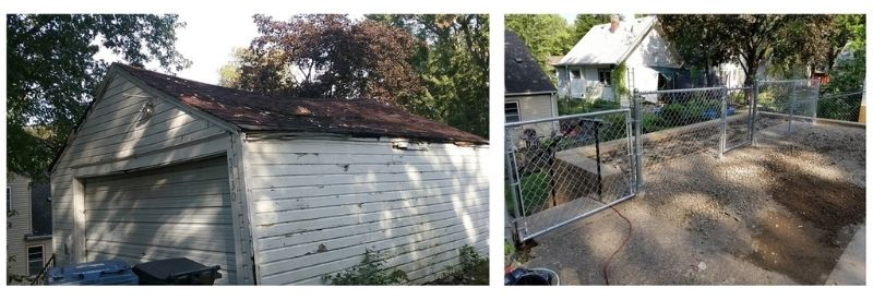 Before and after images of Patricia's garage and retaining wall.