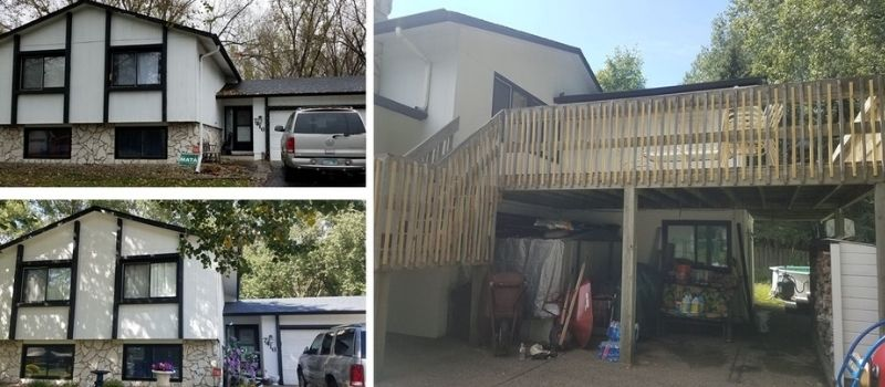 Before and after images of Jessica's home, and of the repaired back deck.