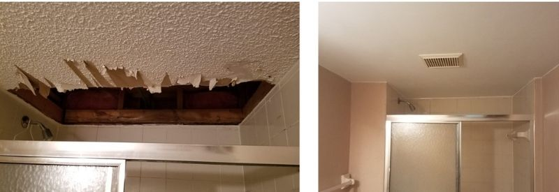 A before-and-after of ceiling repair work.