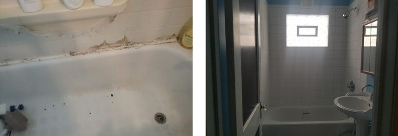 Before and after images of May & Benjamin's bathroom.