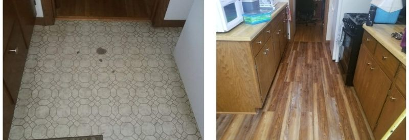 Before and after images of Karen & David's kitchen flooring.