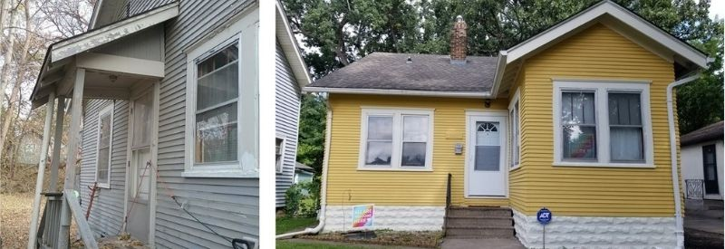 Before and after images of Brendan and Andrew's home.