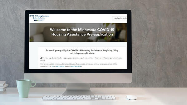 A computer screen showing the Minnesoa COVID-19 Housing Assistance Pre-Application screen.