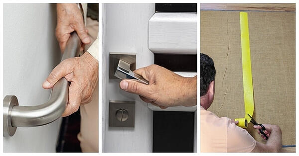 Three images. From left to right: Someone installing a grab bar on a wall, installing a lever-handle doorknob, cutting a piece of yellow tape on the floor.