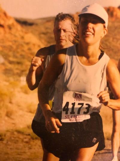 Pam running in the St. George Marathon.