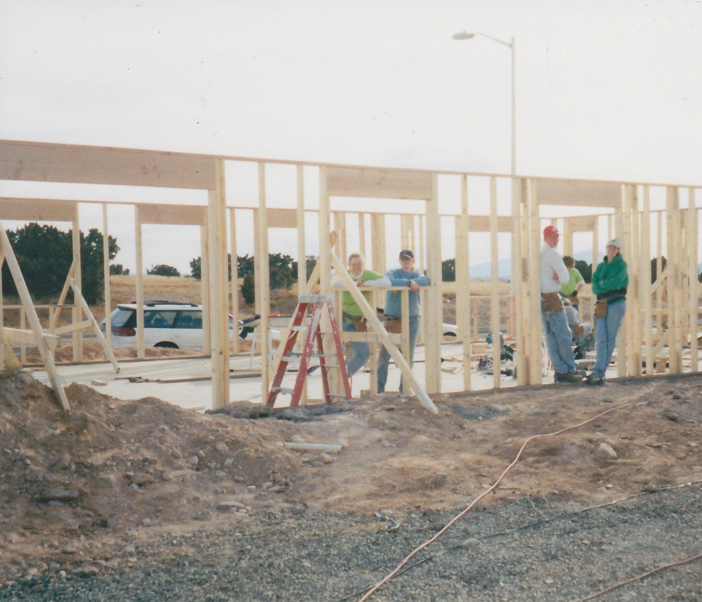 Habitat volunteer Dawn Puroway with crew on a January 2002 homebuild in Santa Fe