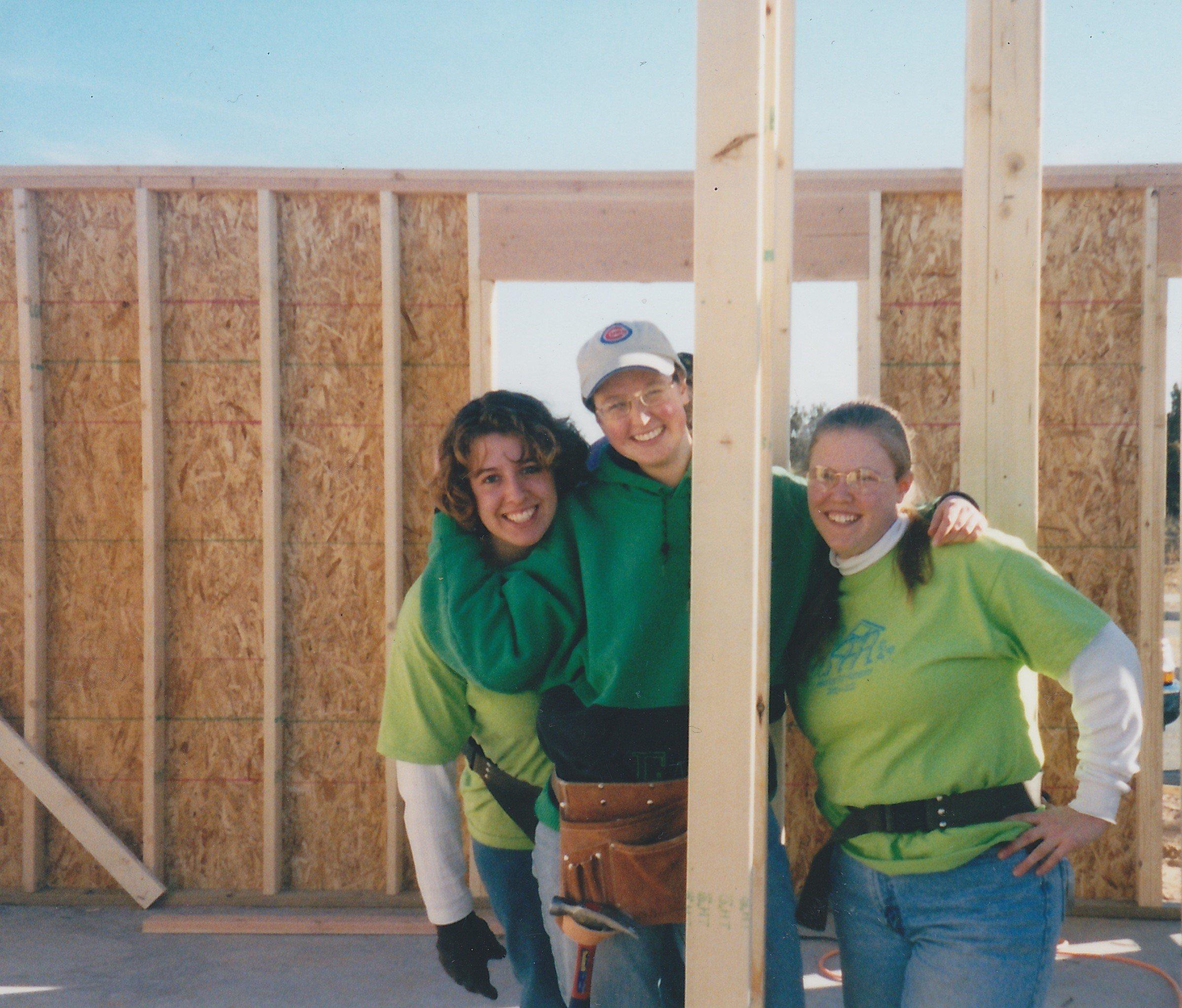 Habitat volunteer Dawn Puroway with two other women volunteers on a January 2002 homebuild in Santa Fe