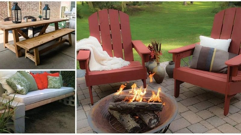 A collage of patio furniture.