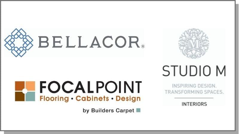 Logos for Studio M Interiors, Focalpoint Flooring, and Bellacor.