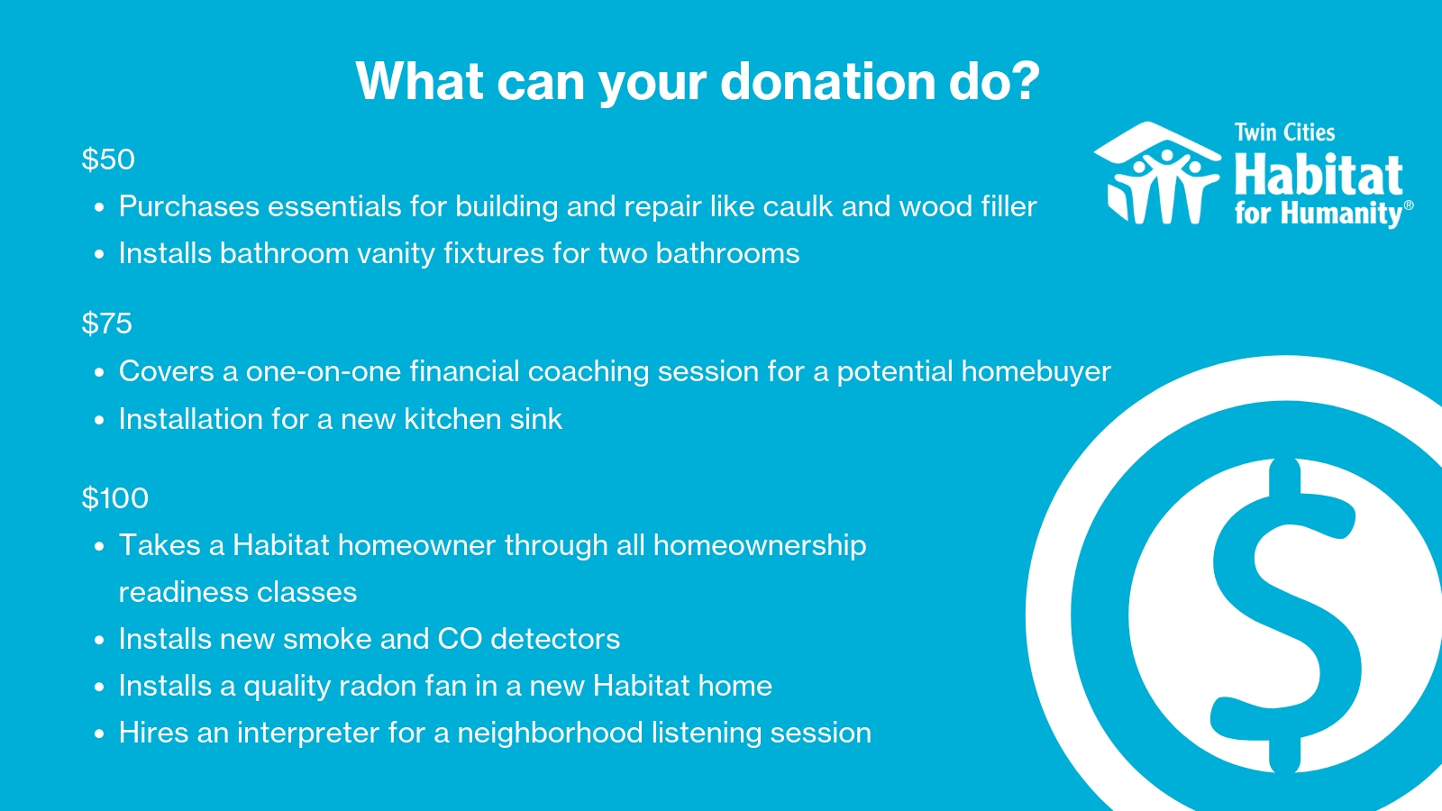Habitat Donation Dollars