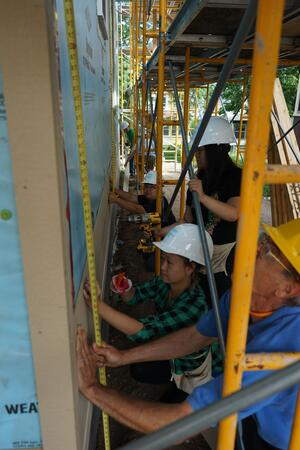 Volunteers working on the Builder's Circle home.