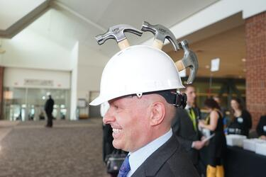 Hard Hat & Black Tie Hammer Helmet