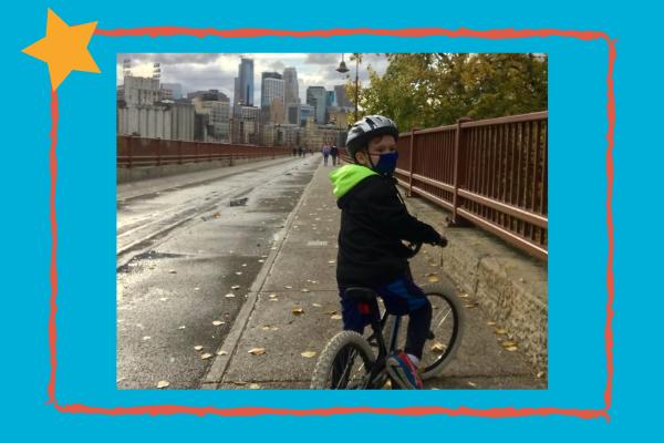 Jameson Riding his bike