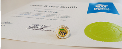 photo of legacy certificate and pin; links to Legacy Circle webpage