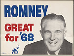 "A poster of George Romney smiling in black and white, with ""ROMNEY"" in blue letters to the upper left. In red is ""GREAT for"" and ""'68"" in blue, with a blue elephant at the bottom of the image."