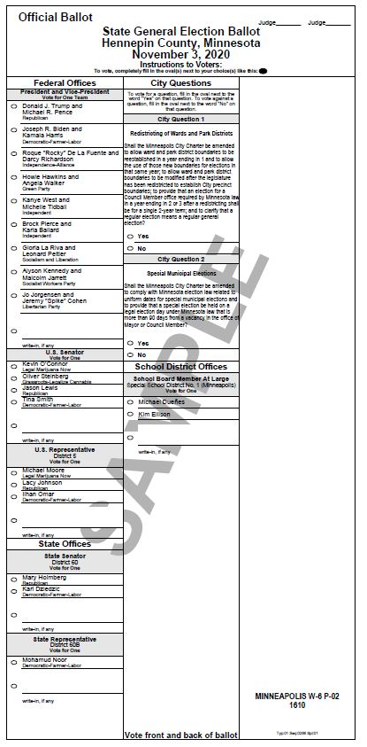 A sample ballot for the November 3, 2020 elections in Hennepin County. A link to your local sample ballot can be found below.